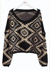 Geometric pattern round neck Bat-sleeved sweater