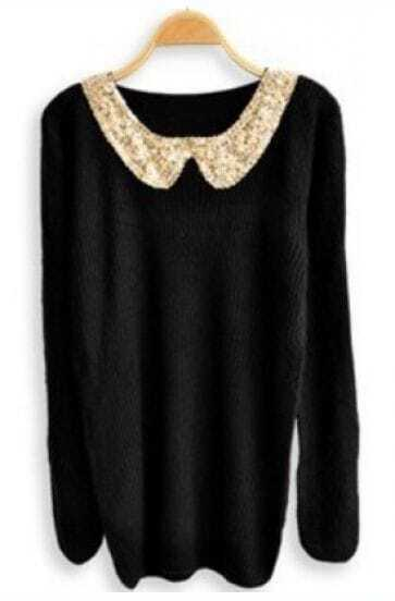Black Sequined Lapel Long Sleeve Pullovers Sweater
