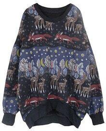 Black Long Sleeve Animal Print Loose Sweatshirt