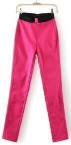 Rose Red Skinny Elastic Waist Pockets Leggings