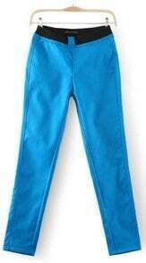 Blue Skinny Elastic Waist Pockets Leggings