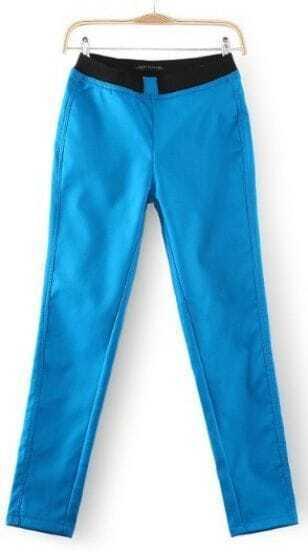 Blue Skinny Elastic Waist Pockets Leggings