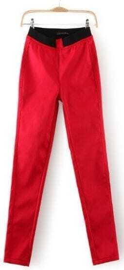 Red Skinny Elastic Waist Pockets Leggings