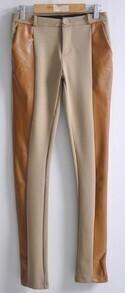 Camel Skinny Contrast Leather Elastic Leggings