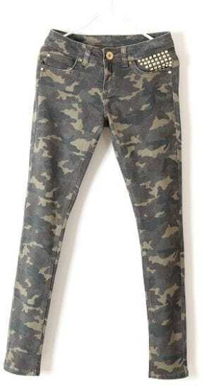Green Camouflage Rivet Skinny Pencil Pant