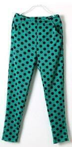 Green High Waist Polka Dot Pockets Pant