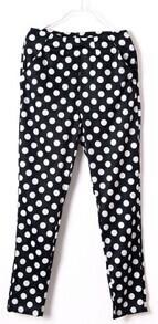 Black High Waist Polka Dot Pockets Pant