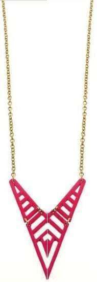 Rose Red Geometric Hollow Long Necklace