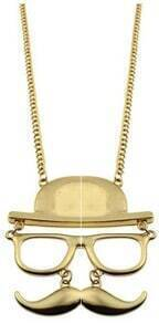 Gold Hat Glasses Beard Necklace