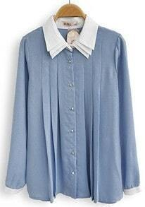 Blue Contrast White Lapel Long Sleeve Pleated Chiffon Blouse