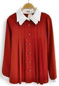 Red Contrast White Lapel Long Sleeve Pleated Chiffon Blouse