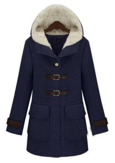 Navy Hooded Long Sleeve Buttons Pockets Coat