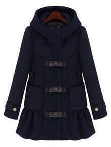 Black Hooded Long Sleeve Ruffles Pockets Coat