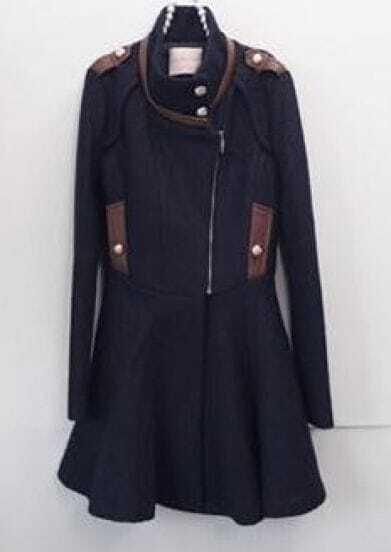 Navy Long Sleeve Epaulet Zipper Ruffles Coat