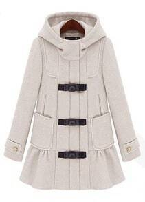 Beige Hooded Long Sleeve Ruffles Pockets Coat