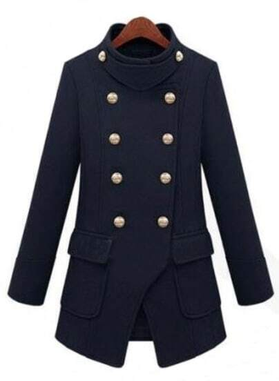 Navy High Neck Long Sleeve Pockets Buttons Coat