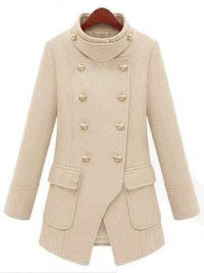 Beige High Neck Long Sleeve Pockets Buttons Coat
