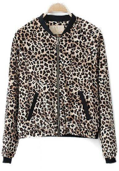 Leopard Long Sleeve Zipper Pockets Jacket Coat