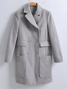 Grey Notch Lapel Long Sleeve Pockets Coat