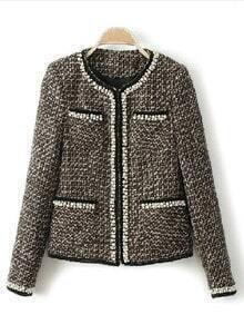 Grey Long Sleeve Houndstooth Rhinestone Pockets Coat