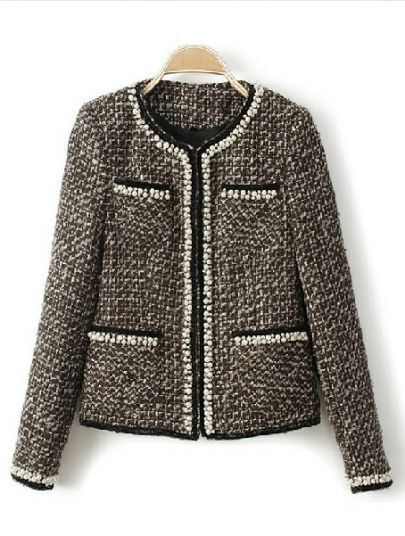Grey Long Sleeve Houndstooth Rhinestone Pockets Coat