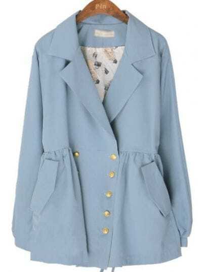 Blue Lapel Batwing Long Sleeve Drawstring Trench Coat