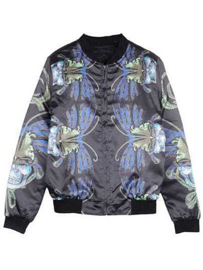 Black Round Neck Vintage Floral Print Padded Jacket