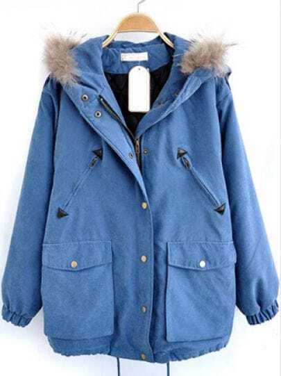Blue Fur Hooded Drawstring Pockets Loose Coat