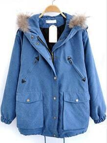 Blue Fur Hooded Drawstring Pockets Loose Coat