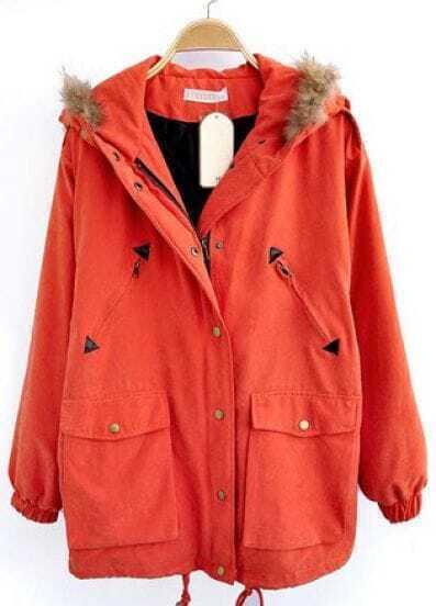 Orange Fur Hooded Drawstring Pockets Loose Coat