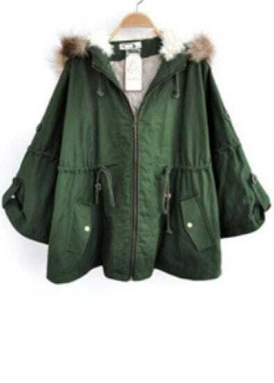 Green Removable Fur Hooded Batwing Cape Coat