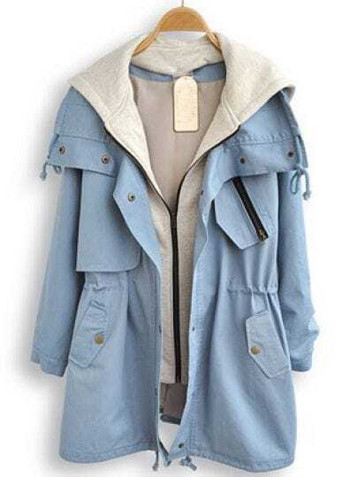 Light Blue Hooded Long Sleeve Pockets Trench Coat