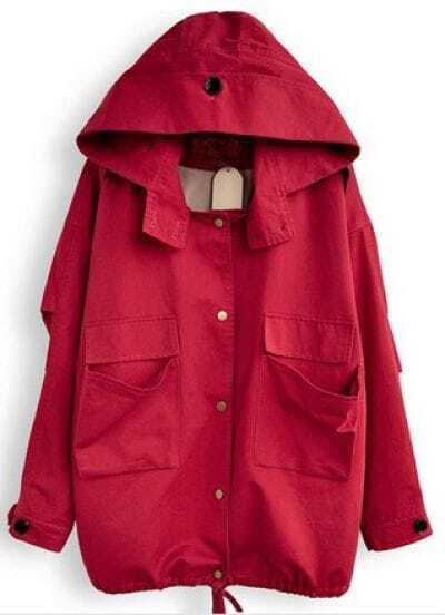 Red Hooded Long Sleeve Drawstring Pockets Trench Coat