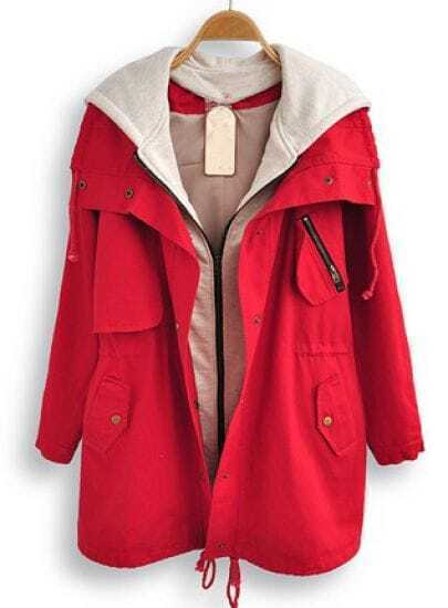 Red Hooded Long Sleeve Pockets Trench Coat