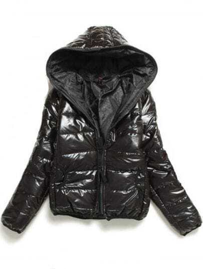 Black Hooded Long Sleeve Zipper Pockets Coat