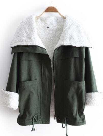 Green Lapel Long Sleeve Drawstring Pockets Coat