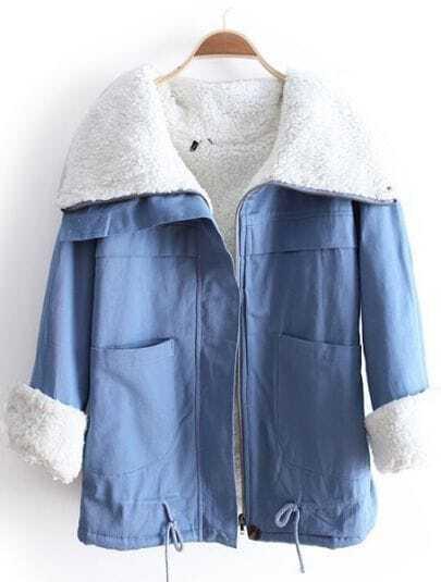 Blue Lapel Long Sleeve Drawstring Pockets Coat