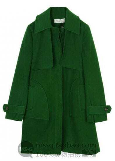 Green Lapel Long Sleeve Covered Button Pockets Coat