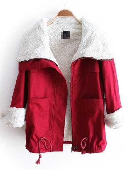 Dark Red Lapel Long Sleeve Drawstring Pockets Coat