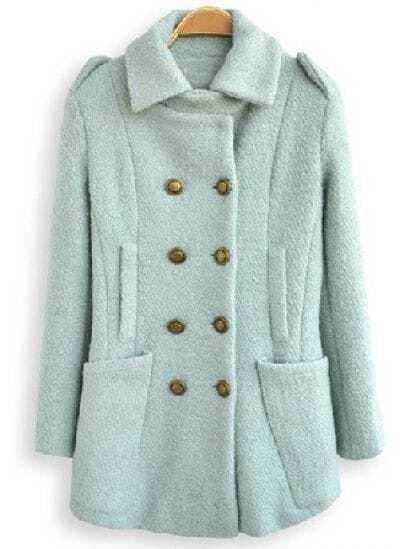 Light Green Lapel Long Sleeve Double Breasted Pockets Coat
