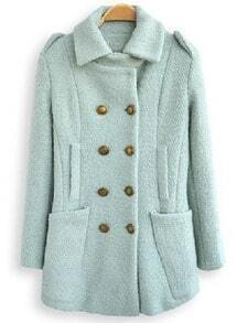 Light Green Lapel Long Sleeve Double Breasted Pockets Coat