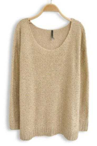 Light Brown Long Sleeve Sequined Loose Sweater -SheIn(Sheinside)