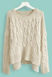 Beige Batwing Long Sleeve Diaper Loose Sweater
