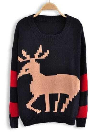 Navy Long Sleeve Deer Embroidery Batwing Sweater