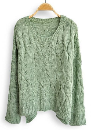 Green Batwing Long Sleeve Diaper Loose Sweater