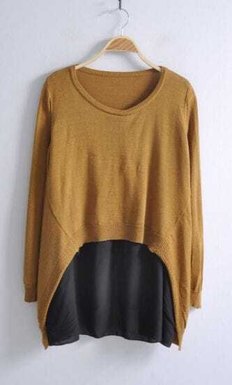 Camel Long Sleeve Contrast Chiffon Pullovers Sweater