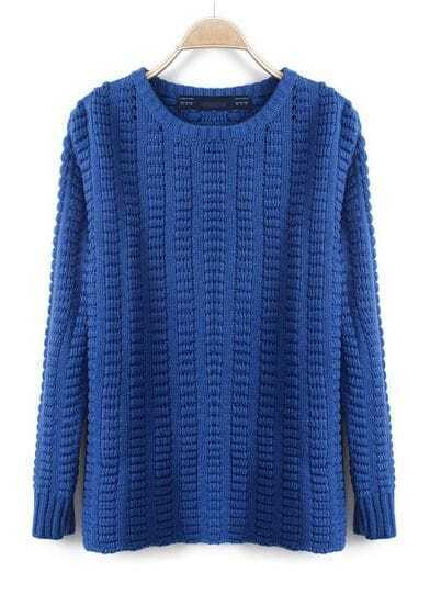 Blue Round Neck Long Sleeve Striped Pullovers Sweater
