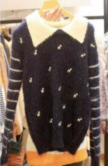 Navy Striped Long Sleeve Cats Embroidery Mohair Sweater