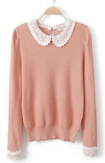 Pink Lace Lapel Long Sleeve Hollow Pullovers Sweater
