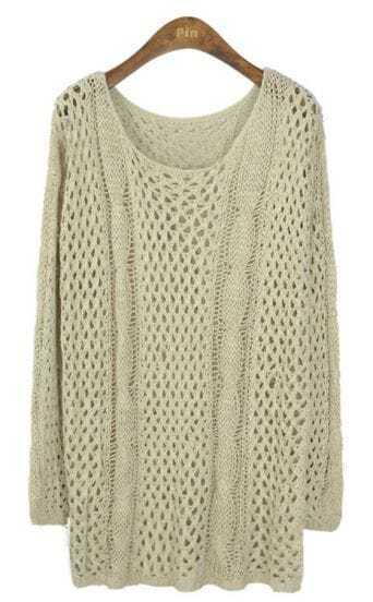 Beige Long Sleeve Hollow Loose Pullovers Sweater